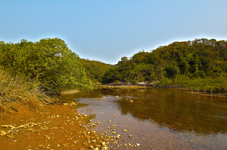 riverside landscaping: River in Sam A Chung, hong kong Stock Photo