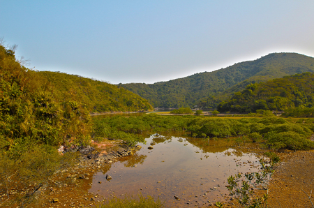 landscaping riverside: River in Sam A Chung, hong kong Stock Photo