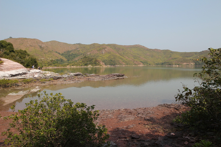 landscaping riverside: River in Sam A wan, hong kong Stock Photo
