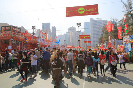 overcrowd: festival crowd for CNY at flower market in victoria park