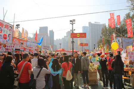 victoria park: festival crowd for CNY at flower market in victoria park