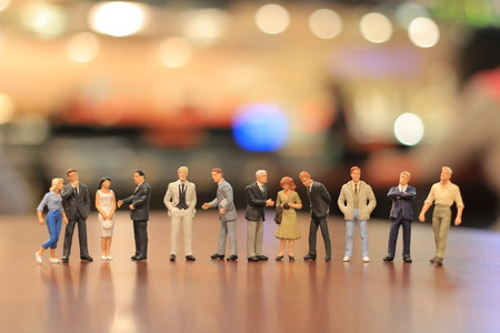 a small figures of business meeting 스톡 콘텐츠