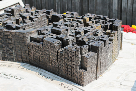 ruined house: Model of old buildings in Kowloon Walled city park - Hong Kong