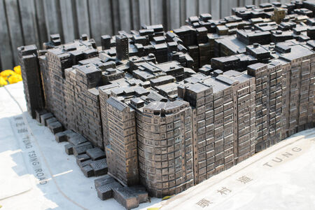 walled: Model of old buildings in Kowloon Walled city park - Hong Kong