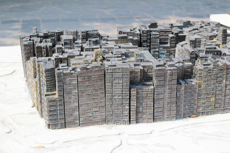 Model of old buildings in Kowloon Walled city park - Hong Kong