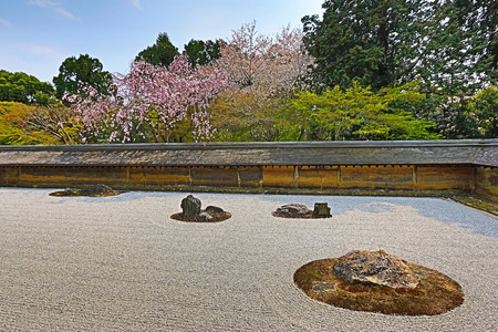 karesansui: Rock garden  also called a Zen Garden  at the Ryoan-ji temple in Kyoto, Japan