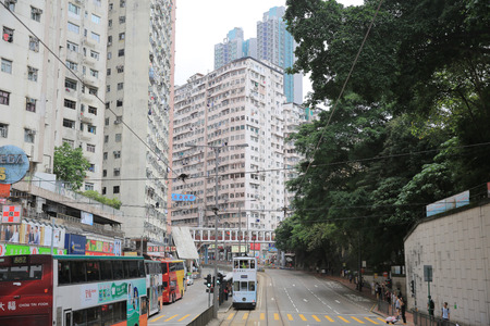 tramcar: king s road, hong kong Editorial