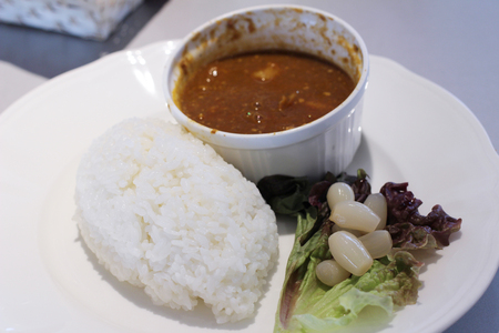 curry rice: curry and rice at  Kyoto University Stock Photo