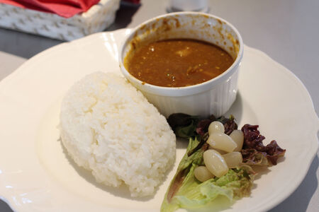 curry: curry and rice at  Kyoto University Stock Photo