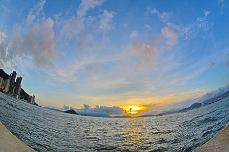 Fish Eye view of Belcher Bay in hong kong photo
