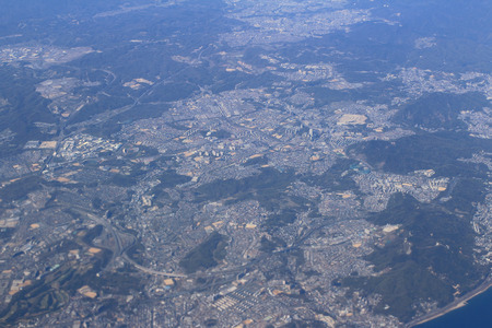 View from a plane window on suburb of the city photo