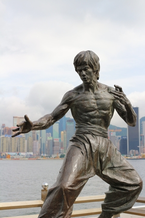 Bruce Lee statue at the Avenue of Stars