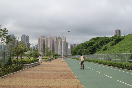 City bike lane at tseung kwan O, hong kong