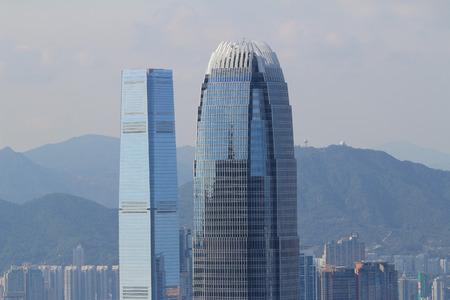 people  background: tall building at hong kong Editorial