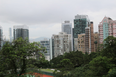 view of the busy city of Wan Chai Hong Kong photo