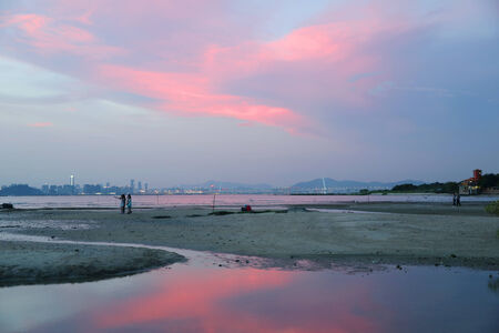 magic hour: Magic Hour at Ha Pak Nai , Yuen Long, Hong Kong