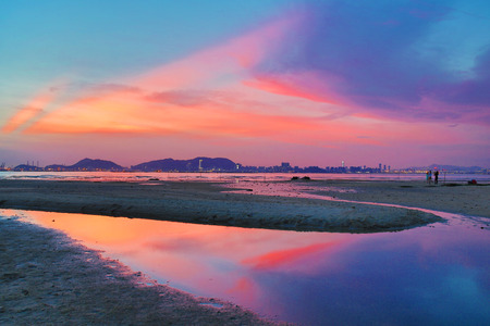Magic Hour at Ha Pak Nai , Yuen Long, Hong Kong photo