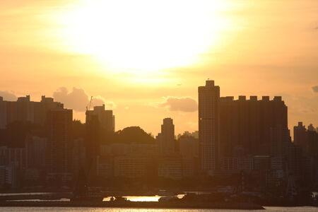 sunset of city view at hong kong photo