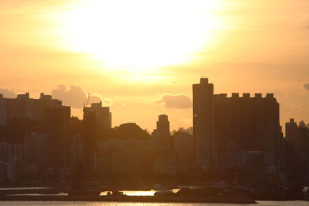 sunset of city view at hong kong
