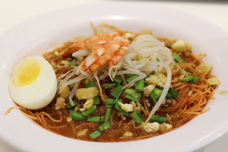 popular soup: a popular traditional spicy noodle soup from the Peranakan culture in Malaysia and Singapore
