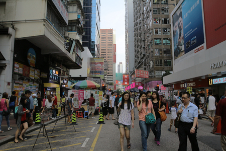 Crowded market stalls in old district in Hong Kong
