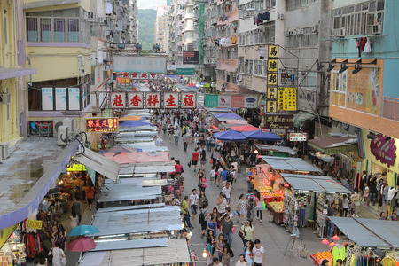 Crowded market stalls in old district in Hong Kong Editorial