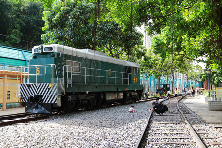 Retired historical green train at Tai Po 新聞圖片