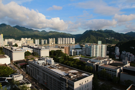 arial: Arial view of the Chinese University of Hong Kong CUHK is a public research university in Shatin, Hong Kong