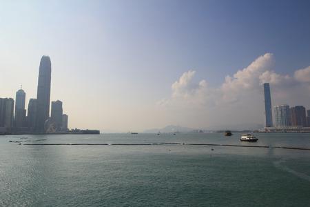 Hong Kong harbour , Wan Chai Waterfront Promenade photo