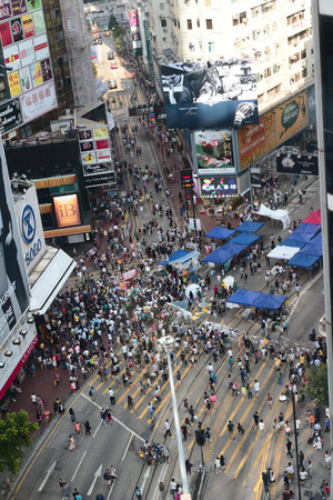 occupy movement: umbrella Revolution in causeway bay, hong kong