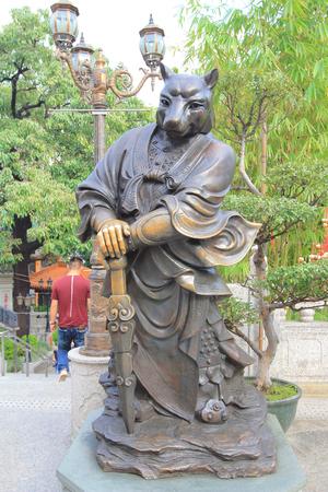 sin: Chinese Zodiac statues at Sik Sik Yuen Wong Tai Sin Temple Kowloon in Hong Kong
