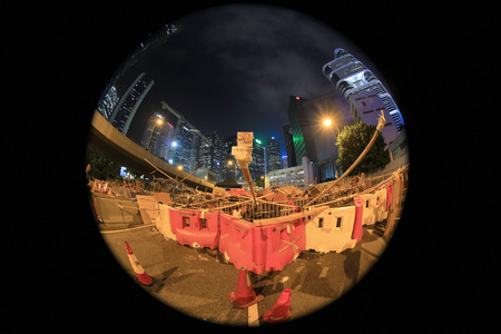 occupy movement: road block of Hong Kong people are fighting for a real universal suffrage for the next chief executive election.