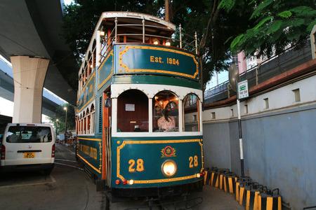doubledecker: Hong Kong Double-Decker classical Tram at night Editorial