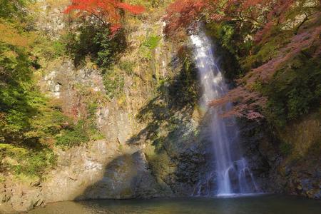 quasi: Minoh waterfall in autumn season, Osaka japan Stock Photo