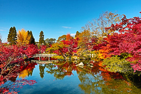 Japanese garden of Eikando Zenrinji temple in autumn, Kyoto, Japan.