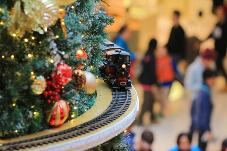 Miniature train with Christams decoration 版權商用圖片