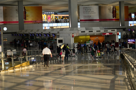 chek: Hall of Terminal International Airport Chek Lap Kok Airport Editorial