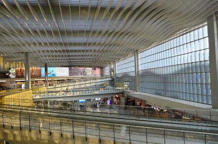 lap: Hall of Terminal International Airport Chek Lap Kok Airport Editorial