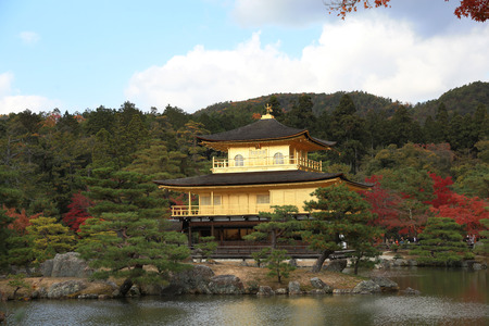 rokuonji: Kinkaku-ji or the Golden Pavilion Temple in Kyoto on a sunny