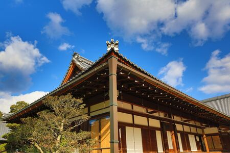 japanese fall foliage: Temple in Kyoto, Japan during the fall season Stock Photo