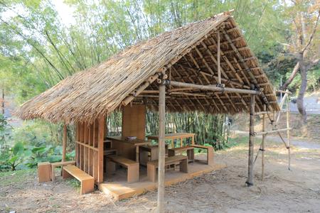 bamboo house: making  of Bamboo house at nature