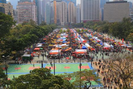 hongkong: festival crowd in CNY flower market in victoria park