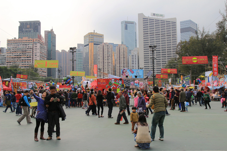 overcrowd: festival crowd in CNY flower market in victoria park