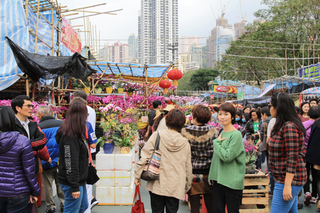 overcrowd: festival crowd in CNY flower market in victoria park, Hong Kong