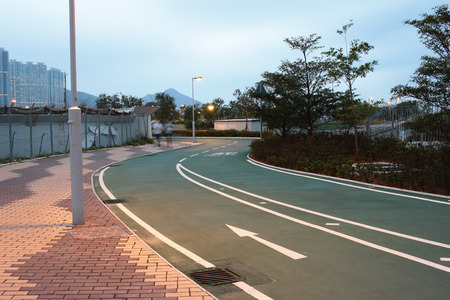 City bike lane at tseung kwan O, hong kong 版權商用圖片