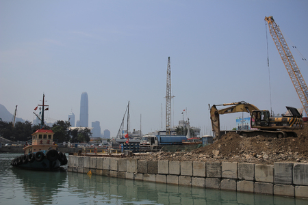 bypass: Central-Wan Chai Bypass building site Editorial