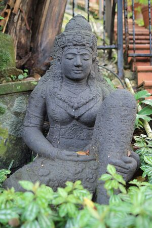 stone buddha: The old stone Buddha statue. Stock Photo