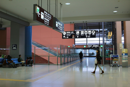 light duty: Inside view of the airport of kansai, japan