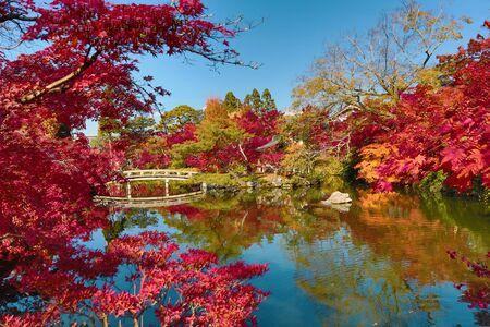 hojo: A bridge at the Hojo Pond by the Eikando Zenrin-ji temple in Kyoto, japan Editorial