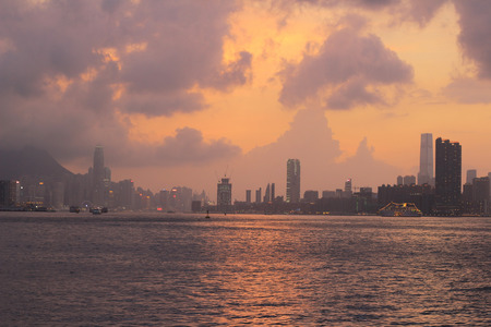 habour: the Skyline of Hong Kong victoria habour at sunset